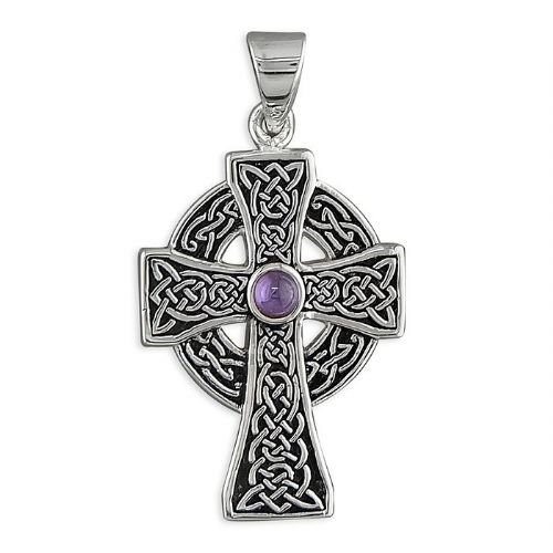 Amethyst Sterling Silver Celtic Cross Including Chain